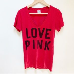 "PINK ""Love pink"" graphic tee S"